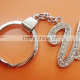 Iron key rings with alloy letter U with rhinestone 32mm