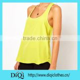 women low-cut top solid summer cross back top chiffon tank top