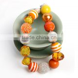 fashion children's necklace best selling orange colors plastic kids bead fashion chunky necklace pendant for girls