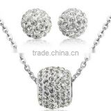 Dubai CZ Fashion Jewellery African Ball Stud Earrings Diamond Necklace Silver Jewelry Set