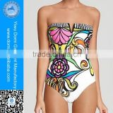Designer popular digital print flower hot women swimwear 2015 sexy one piece bathing suits in stock