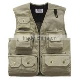 2015 New Arrival Mesh vests for men Wholesale men's multi-pocket photography vest men casual reporter director outdoor military