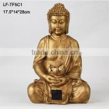 Gold buddha statue solar garden lighting