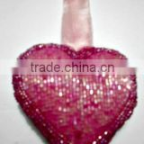 Glass Beads Heart Futchia X-Mas Hanging,Ornament & Decoration for Christmas Tree