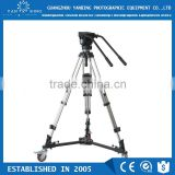 Professional dslr camcorder tripod with double handles and ground spreader for 15kg camera