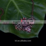 2015 yiwu fashion jewelry hot sale steampunk bee gear pendant with crystal statement necklace red copper