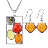 3pcs set Fashion new design resin jewelry set earring and necklace artificial amber earrings and chain set