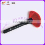 Red Natural Hair Matt Black Wood Handle Cosmetic Fan Brush