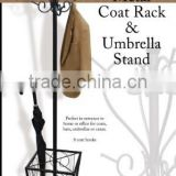 RH-4737 Multifunctional metal standing coat rack with umbrella holder hat clothes coat rack