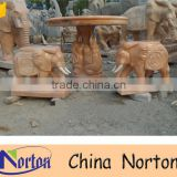 Hand carved elephant garden stone tables and chairs NTS-B271A