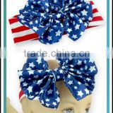 National Day Hair Accessories For Little Girl Cotton/Cashmere/Silk Milk Material Big Bow Baby Boutique Wholesale