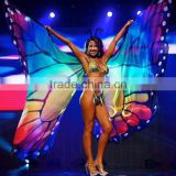 360 Degree Multicoloured Rainbow Butterfly Wing For Party and Belly dance Show GIrl Prop