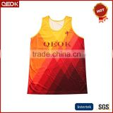 China Manufacturer Sublimation Basketball uniforms,Men's relax polyester textile vest