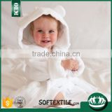 wholesale fabric animal soft absorbent white 100% cotton hooded baby towel set with high quality