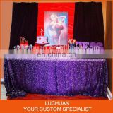 Latest Product Purple Shiny Sequin Cheap Wedding Table Overlay