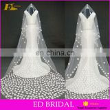 Custom Made Long Ivory Wedding Veil With Petals On For Wholesale