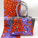High Quality African Design fabric Handbags matching african printed wax for party lady handbags b170823003