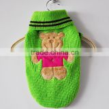 Green Knitting Pet Dog's Sweater Polo Pet Sweater