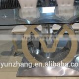 Square glass top dining table, stainless steel base dining table,hotel wedding banquiet dining table