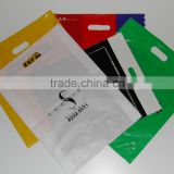 Custom Printed Promotional Eco-Friendly advertising material Plastic Bag with Die Cut Handle