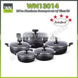 Most popular induction based cookware set aluminium cookware set with nonstick inner coating
