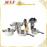 MSF-SS3012 professional kitchenware 20pcs kitchenware set 7pcs stainless steel cookware set and kitchen tools & knives