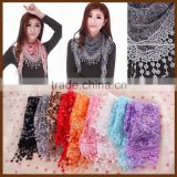 Hot selling Women Floral Tassel wrap scarf shawl Triangle Lace Scarf/#                                                                         Quality Choice