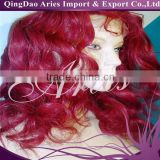 new products in 2015 brazilian virgin hair loose wavy Rihanna red human hair lace front wig