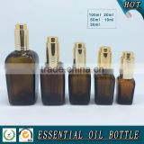 Amber square glass essential oil bottle with press pump dropper