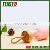 Factory Price Glass Water Bottle Jucie Beverage Bottle with wooden Lid Wholesale