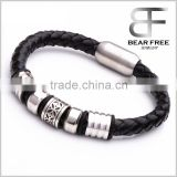 Black Silver Braided Genuine Leather Cuff Bracelet Wristband, Stainless Steel Clasp Couples Valentine's Gift