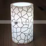 2015 new hot led candle Low temperature resistant white flickering flame printing plastic pillar candle