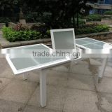Used patio furniture, glass top extension table, outdoor aluminum dining table