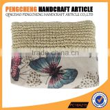 Casual classics crochet clutch Bag paper straw and polyester material nature color