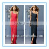 2014 New Style One-Shoulder Shirred Bodice Draped Front Slit Floor Length Skirt Cheap Bridesmaid Dresses (BDWA-4008)