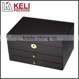 Black luxury locked wooden jewelry box with drawer and mirror