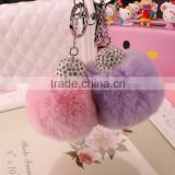 Keyring Pompom keychain Charm Ball Rabbit Fur Ball Genuine Soft Fluffy Key Chain Bag Pendant