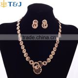 Hot sale european women gold plating metal jewelry set crystal circle jewelry set wedding party