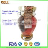 high quality glass bottle with ear Comb Honey with bee wax