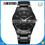 CURREN/CW026 Whole Black Steel Casual Wristwatch Curren Business Men Military Auto Date Display Stainless Steel Analog