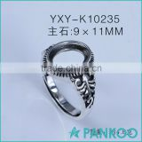 Top Fashion 925 silver popular ring base 925 sterling silver finding factory wholesale DIY ring with vintage design