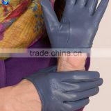 Cute women soft unlined grey sheepskin leather touch screen winter gloves