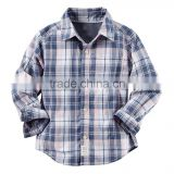 Children's apparel OEM service kids long sleeve one chest pocket button down cotton shirts