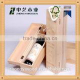 china factory sale FSC&BSCI rope handle pine wooden burgandy wine bottle gift boxes for shopping christmas