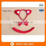 3 pieces/lot Red Fox Ear Animal Headband Bow Tie And Tail For Party Favor