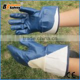 BSsafety Blue nitrile coated safety gloves cut resistant oil resistance smooth surface safety gloves