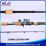 casting spin fishing rod baitcasting fishing reel combo set with carrying bag