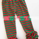 Christmas Ruffle Leggings Toddlers 95% Cotton 5% Spandex Icing Legging Red and Green Striped Pants