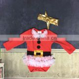 Christmas dresses baby girls Hot sale Baby Kids Girls cartoon romper tutu dresses child clothes with golden headband set