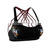 Joker Clown Face Black Fitness Bra with multiple tangled stripes and contrasting color inside